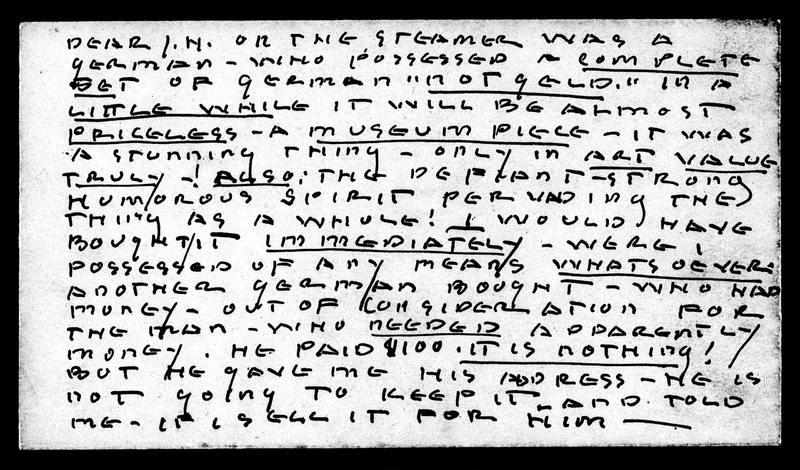 Note to Jane Heap Written on Envelope